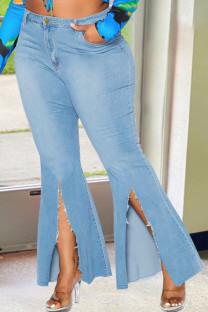 Light Blue Fashion Street Solid Slit Plus Size Jeans