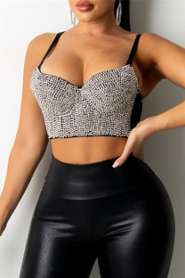 Silver Fashion Sexy Patchwork Hot Drilling Backless Spaghetti Strap Tops