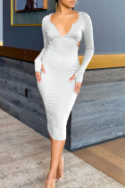 Light Gray Sexy Solid Split Joint Backless Hooded Collar One Step Skirt Dresses