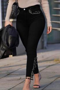 Black Fashion Street Solid Split Joint Plus Size Jeans