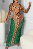 Green Fashion Sexy Print Hollowed Out O Neck One Step Skirt Dresses