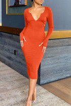 Tangerine Red Sexy Solid Split Joint Backless Hooded Collar One Step Skirt Dresses