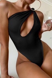 Black Fashion Sexy Solid Hollowed Out Backless Swimwears
