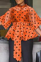 Orange Fashion Dot Print Frenulum See-through Mandarin Collar Tops