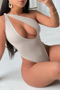 Apricot Fashion Sexy Solid Hollowed Out Backless Swimwears