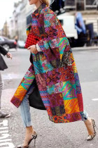 Orange Red Street Camouflage Print Split Joint Turndown Collar Outerwear