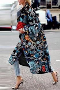 Black Street Camouflage Print Split Joint Turndown Collar Outerwear