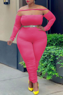 Rose Red Fashion Casual Solid Split Joint Off the Shoulder Plus Size Jumpsuits
