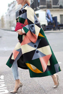 Colour Street Camouflage Print Split Joint Turndown Collar Outerwear