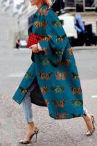 Cyanine Street Camouflage Print Split Joint Turndown Collar Outerwear