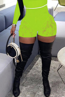 Fluorescent Green Fashion Sexy Solid Split Joint See-through Skinny High Waist Shorts