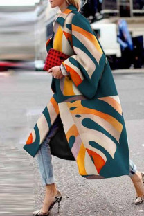 Turquoise Street Camouflage Print Split Joint Turndown Collar Outerwear