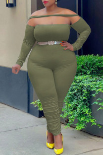 Green Fashion Casual Solid Split Joint Off the Shoulder Plus Size Jumpsuits