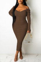 Coffee Casual Solid Split Joint V Neck Pencil Skirt Dresses