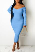 Baby Blue Casual Solid Split Joint V Neck Pencil Skirt Dresses