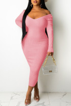 Pink Casual Solid Split Joint V Neck Pencil Skirt Dresses