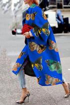 Royal Blue Street Camouflage Print Split Joint Turndown Collar Outerwear