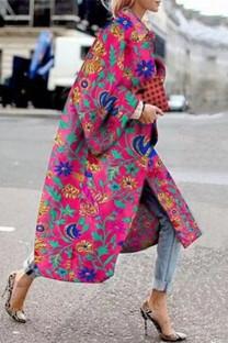 Rose Red Street Camouflage Print Split Joint Turndown Collar Outerwear
