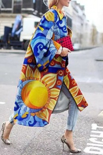 Yellow And Blue Street Camouflage Print Split Joint Turndown Collar Outerwear