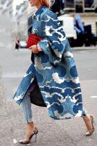 Blue Street Camouflage Print Split Joint Turndown Collar Outerwear