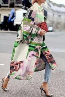 Green Street Camouflage Print Split Joint Turndown Collar Outerwear