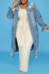 Light Blue Fashion Casual Solid Ripped Cardigan Turndown Collar Plus Size Overcoat