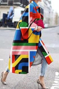 Multicolor Street Camouflage Print Split Joint Turndown Collar Outerwear