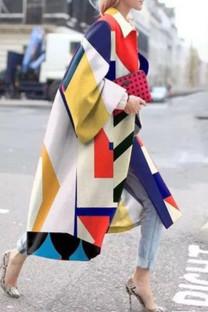 White Street Camouflage Print Split Joint Turndown Collar Outerwear
