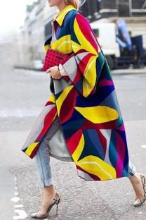 Blue Yellow Street Camouflage Print Split Joint Turndown Collar Outerwear
