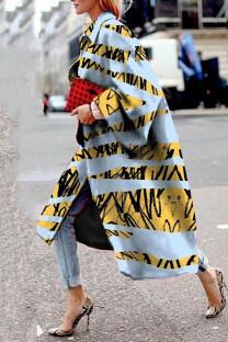 Gray Blue Street Camouflage Print Split Joint Turndown Collar Outerwear