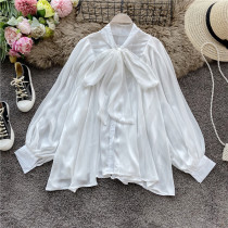 White Sweet Solid Split Joint Buckle O Neck Tops