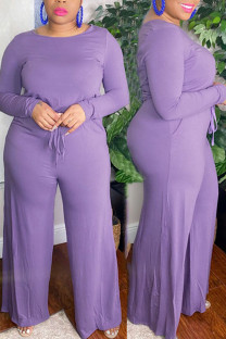 Purple Casual Solid Split Joint O Neck Plus Size Jumpsuits