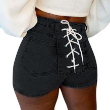 Black Sexy Solid Draw String Mid Waist Skinny Denim Shorts