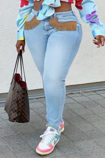 Light Blue Fashion Street Solid Tassel Plus Size Jeans
