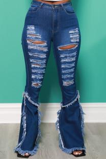 Dark Blue Street Solid Ripped Split Joint High Waist Boot Cut Denim Jeans