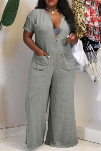 Grey Fashion Casual Solid Basic V Neck Plus Size Jumpsuits