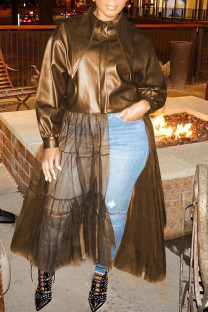 Brown Fashion Solid Split Joint Buckle Mesh Turndown Collar Outerwear