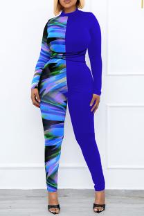 Blue Sexy Print Split Joint O Neck Plus Size Jumpsuits