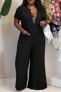 Black Fashion Casual Solid Basic V Neck Plus Size Jumpsuits