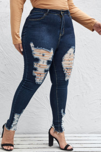 Tibetan Blue Fashion Casual Solid Ripped Plus Size Jeans