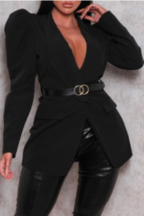 Black Fashion Casual Solid Cardigan Turndown Collar Plus Size Overcoat (Without Belt)