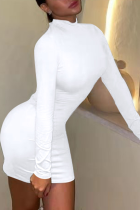 White Sexy Solid Backless Half A Turtleneck Pencil Skirt Dresses
