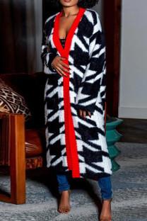 Black White Fashion Casual Plaid Split Joint Plus Size Overcoat