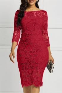 Burgundy Sexy Solid Lace O Neck Irregular Dress Dresses