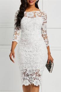 White Sexy Solid Lace O Neck Irregular Dress Dresses