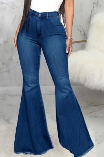 Dark Blue Fashion Street Solid High Waist Denim Jeans