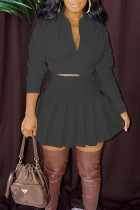 Black Casual Solid Bandage Split Joint Fold V Neck Long Sleeve Two Pieces