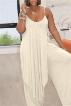 Milky Sexy Casual Solid Backless Asymmetrical Spaghetti Strap Sleeveless Two Pieces