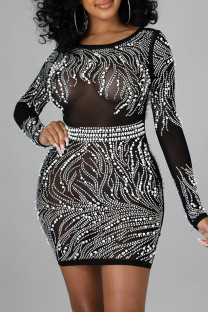 Black Sexy Solid Split Joint See-through Backless Beading Hot Drill O Neck One Step Skirt Dresses