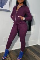Dark Purple Casual Sportswear Solid Split Joint Zipper Zipper Collar Long Sleeve Two Pieces